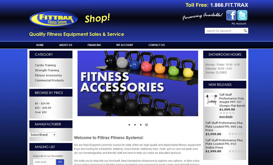 Fittrax Fitness Systems – located in Hooksett NH, sells fitness equipment nationally.