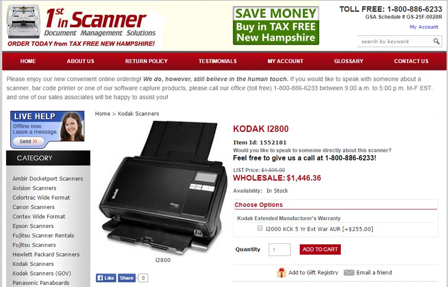 1st In Scanners – An online ecommerce shop located in Derry, NH